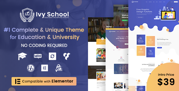 Ivy School – Education, University & School WordPress Theme